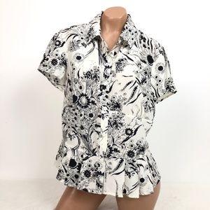 Emanuel Ungaro Size 10 Silk Blend Floral Blouse